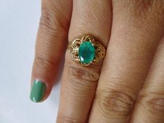 Gorgeous Vintage 14K Emerald Ring by ALottaNiceTreasures on Etsy