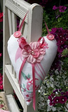 CLEARANCE Vintage Linens Cottage Heart Hanging by ASoulfulJourney