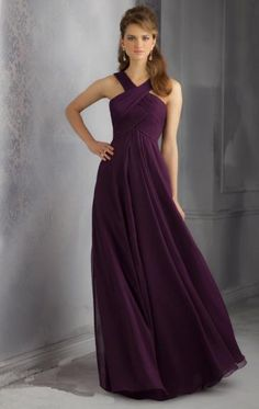 Beautiful Chiffon Grape Bridesmaid Dress BNNBE0007-Bridesmaid UK