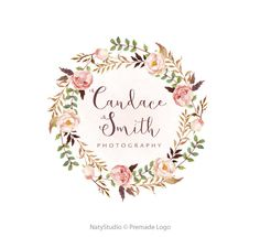 Floral wreath logo premade logo design and watermark by NatyStudio