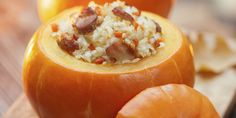 Choose miniature pumpkins like Small Sugar, Little Boo, or Jack Be Little to act as individual casserole dishes in which to bake a mix of fresh pumpkin, Israeli couscous, sausage, apples, onion, and cranberries. The flavors and colors of the fall har...