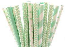 Free Shipping 250pcs MInt Green Mixed 5 Patterns Paper Straws ,Party Supplies Paper Drinking Straws wholesale(China (Mainland))