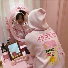 itGirl Shop BACK PRINT LEMONADE BOX PINK LONG SLEEVE WARM HOODIE Aesthetic Apparel, Tumblr Clothes, Soft Grunge, Pastel goth, Harajuku fashion. Korean and Japan Style looks