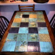 """good idea for between-chair table in living room; could even maybe first put on squares, and then """"grout"""" with a coating of grey paint, wiping it off of the paper, therefore distressing it a bit? would have to try..."""