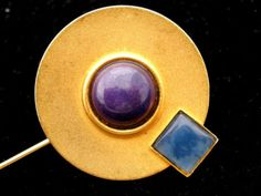 Gale Rothstein Stick Pin Sugilite Black Onyx Gemstone Signed Vintage Brooch 1980 | eBay