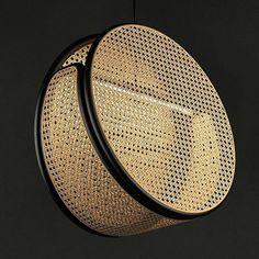 JACARANDA Lamp // Rattan frame in satin black finish + natural cane.