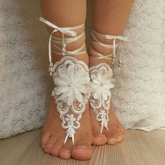 bridal anklet ivory Beach wedding barefoot sandals by BarefootShop Purple Beach, Bare Foot Sandals, Beach Sandals, Lace Weddings, French Lace, Wedding Shoes, Dream Wedding, Anklets, Bridal Accessories