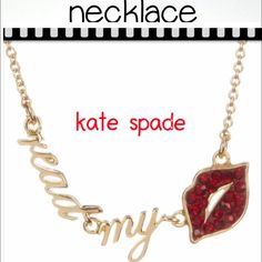 """kate spade read my lips necklace kate spade 12K gold enamel detailed read my lips pendant necklace. Lobster clasp. Approx 17"""" in length with a 3"""" extension. Pendant Approx 1.5""""W x 1/8"""" L. Imported kate spade Jewelry Necklaces"""