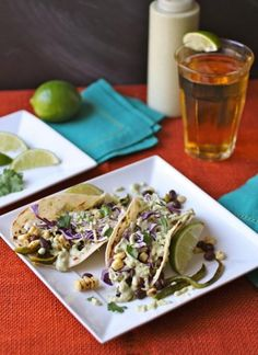 How To Make Taco Recipe : Grilled Corn, Peppers  Black Bean Tacos with Creamy Poblano Sauce