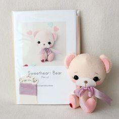 Peony Sweetheart Bear Pattern Kit PURE Felts by Gingermelon