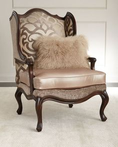 H8QCL Massoud Charna Fabric & Leather Wing Chair