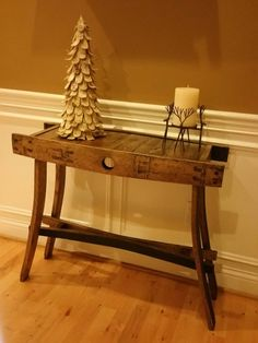 Bourbon barrel entry table by bEcustomwooddesigns on Etsy