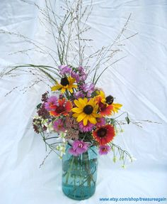 DIY Wedding Flowers Mason Jars Centerpieces 12 by treasureagain, $36.00