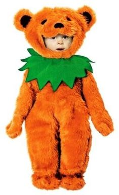 Grateful Dead - Orange Dancing Bear Baby Costume  Your baby deadhead can be a dancing bear this Halloween. Colorful orange bear costume includes bear headpiece, orange jumpsuit with attached hands, and a green neck collar. Shoes are NOT included. Officially licensed Grateful Dead merchandise. Buy it now  for Halloween! 18-24 mos. size. #sunshinedaydream #hippieshop
