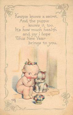 Kewpie New Year postcard, Rose O'Neill
