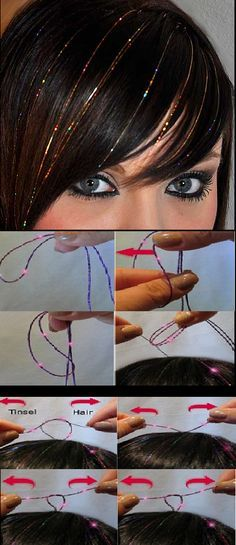 Instructions To Apply Hair Tinsel. This would be so fun :) - ☆FrisureN, HaarschmucK und PflegeproduktE☆ - Hair Dreads, Diy Hairstyles, Pretty Hairstyles, Beauty Tutorials, Beauty Hacks, Pelo Multicolor, Fairy Hair, Christmas Hair, Merry Christmas