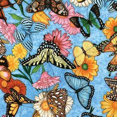 cotton fabric butterflies and flowers