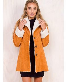 The+Contro+Coat+-+ Fab+button+up+coat! Beautiful+suede+look Super+soft+woollen+lining Cotton+and+Polyester+blend Online Fashion Boutique, Womens Fashion Online, Check Coat, German Fashion, Perfect World, Princess Polly, Latest Fashion Trends, Fur Coat, Crop Tops