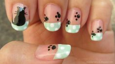 Chic Black Silhouette Cat On Sweet Teal French Nail Art Design Idea With White Polka Dots And Black Cat Paw - Animal Nail Art #prom nail art