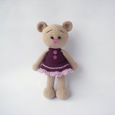 This is a PDF pattern Cute teddy girl only and not the finished item! This written crochet pattern includes all the instructions needed to make Crochet Amigurumi, Crochet Bear, Cute Crochet, Crochet Dolls, Crochet Animals, Teddy Girl, Tsumtsum, Crochet Mermaid, Little Doll