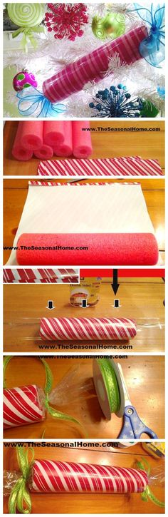 How To Make Large, Faux CHRISTMAS CANDY Decorations using pool noodles #christmasyarddecorations