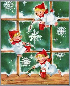 [Front Only] Angel Girls Painting Snowflakes, Vintage Christmas Card Vintage Christmas Images, Retro Christmas, Christmas Pictures, Christmas Angels, Christmas Art, Christmas Decorations, Xmas, Christmas Greeting Cards, Christmas Greetings