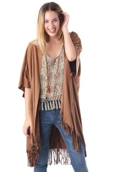 Jacket in suede with tassel fringed hem