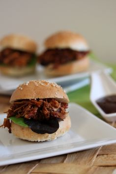 Pulled pork sliders in the slow cooker. Yum.