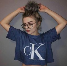 shirt calvin klein tumbler girl cropped t-shirt blue