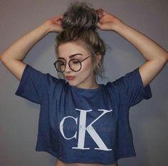 shirt calvin klein tumbler girl cropped t-shirt blue