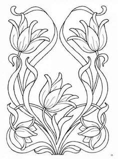 super Ideas for art nouveau flowers stencil embroidery designs Embroidery Designs, Vintage Embroidery, Hand Embroidery, Flower Embroidery, Colouring Pages, Adult Coloring Pages, Coloring Books, Design Art Nouveau, Art Nouveau Pattern