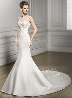 Trumpet/Mermaid Scoop Neck Chapel Train Satin Tulle Lace Wedding Dress With Beading Sequins (002056980)