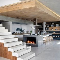 fireplace in the kitchen…and those stairs!