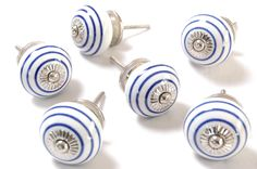 Blue Coloured Ringed Ceramic Cupboard Knobs 40mm x Pack 6 (MT-027): Amazon.co.uk: Kitchen & Home