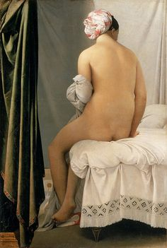 Classical French artist, Jean-Auguste-Dominique Ingres (1780-1867) painted 'The Bather of Valpincon' (1808)  Ingres was known for his expertise in painting flawless skin ~ the smooth light makes her even more beautiful.