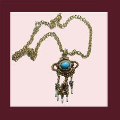 Let's Get Vintage - Necklaces - Beautiful and dainty vintage faux turquoise lavaliere necklace. Signed ART - Vintage Costume Jewelry