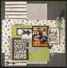 Baby Boy Scrapbook, 12x12 Scrapbook, Picture Scrapbook, School Scrapbook Layouts, Scrapbooking Ideas, Diy Paper, Paper Crafts, Single Pic, Picture Layouts