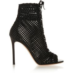 Gianvito Rossi Woven leather peep-toe ankle boots