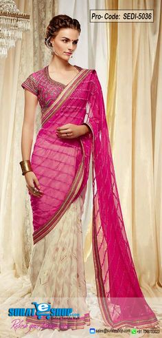 This Buttercream & Pink Net Saree Is Including The Beautiful Glamorous Displaying The Feel Of Cute And Graceful. This Lovely Attire Is Displaying Some Fantastic Embroidery Done With Dangler, Lace, Moti, Stones Work. Paired With A Matching Blouse  Visit: http://surateshop.com/product-details.php?cid=2_26_66&pid=7324&mid=0