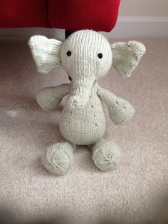 Hand Knitted Elephant Light Pastel Green Elephant Toy by CatDKnits
