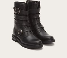 KAH says: Frye Veronica Tanker Boots. Update: these have arrived and I adore them. Comfy, a great shaft height and cute straps.