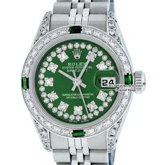 Buy your lady datejust watch Rolex on Vestiaire Collective, the luxury consignment store online. Second-hand Lady datejust watch Rolex Green in Steel available. Rolex Oyster Perpetual, Luxury Watches, Rolex Watches, Diamond Watches, Wooden Watch Box, Rolex Women, Rolex Models, Green Diamond, Beautiful Watches