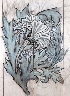 We adore this stylised Tulip design from the William Morris gallery, what do you think? William Morris Patterns, William Morris Art, Textile Patterns, Textiles, Flower Patterns, Wm Logo, Motifs Art Nouveau, John Everett Millais, Morris Wallpapers