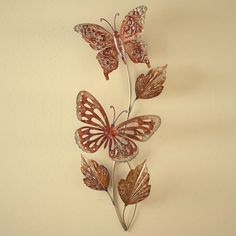 "Butterflies Branch Vine Leaves Hanging Metal Wall Art Golden Bronze 26""H #Unbranded #Traditional"