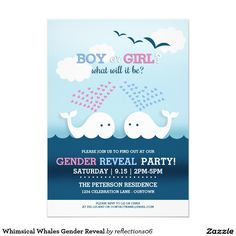 Whimsical Whales Gender Reveal 5x7 Paper Invitation Card