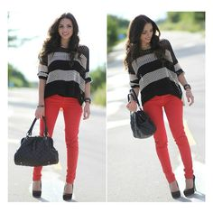 Red and stripes! ❤ liked on Polyvore featuring outfits, lookbook, backgrounds and looks