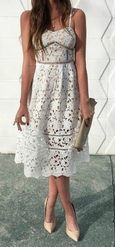 Stunning floral lace bodice with beige lining is decorated with pierced embroidery beneath a sweetheart neckline and expert tailoring. Detachable spaghetti straps are adjustable, and can be removed for a strapless look that is assisted by a no-slip strip. Flaring midi skirt completes the stunning silhouette with sheer lace towards the hem.  #lovelulus