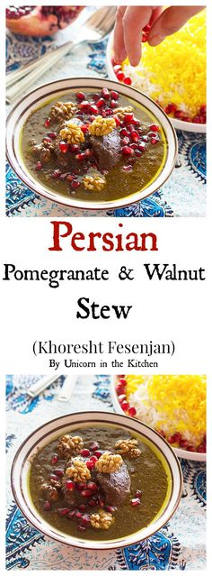 Dive in to Persian deliciousness!This Persian food,  Khoresht Fesenjan is a wonderful combination of pomegranate and walnut served with Persian style rice and saffron.