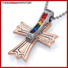 STAINLESS STEEL GAY LESBIAN RAINBOW CZ ROSE GOLD CROSS PENDANT P4408A