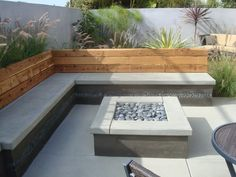 garden seating BUILT IN SEATING Nathan Smith Landscape Design - modern - patio - san diego - Nathan Smith Landscape Design Fire Pit Backyard, Backyard Patio, Backyard Landscaping, Modern Backyard, Backyard Landscape Design, Concrete Backyard, Cement Patio, Modern Patio Design, Modern Landscaping